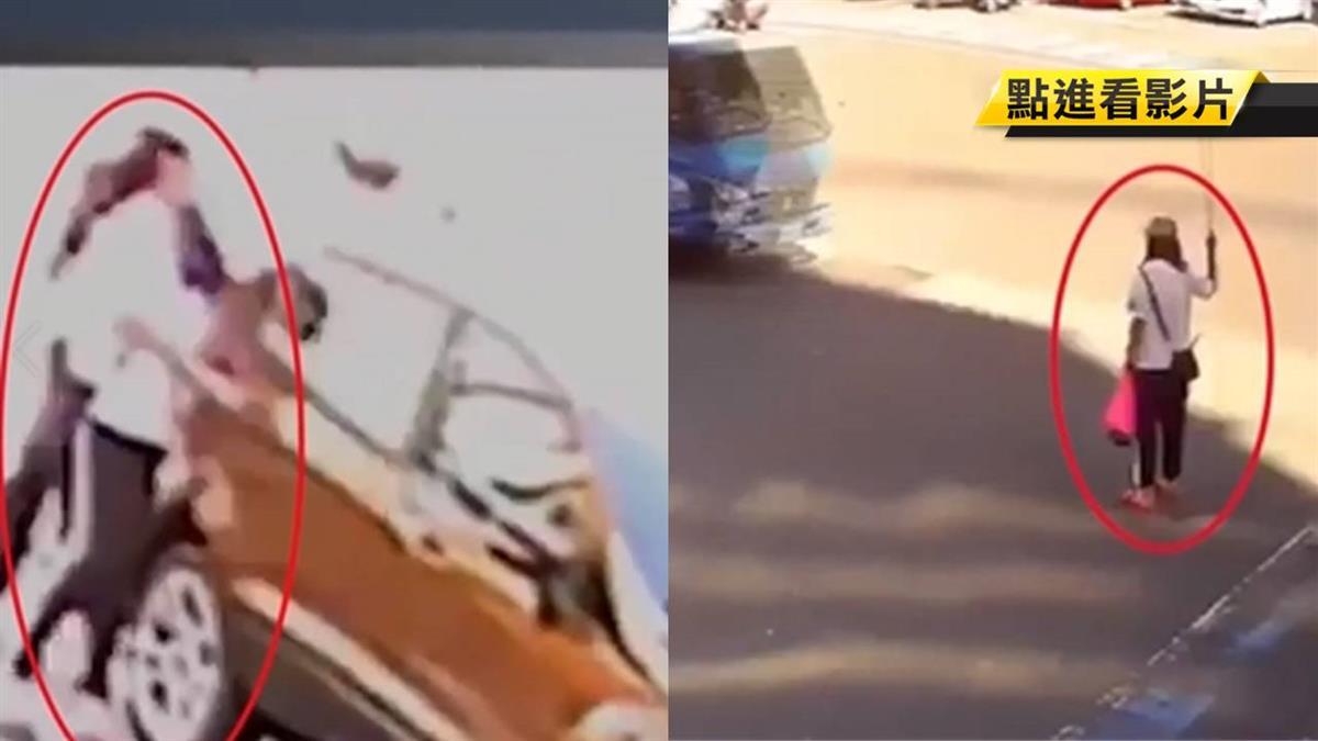 獨/馬路中肉身擋車砸車 女情緒失控被民眾包圍