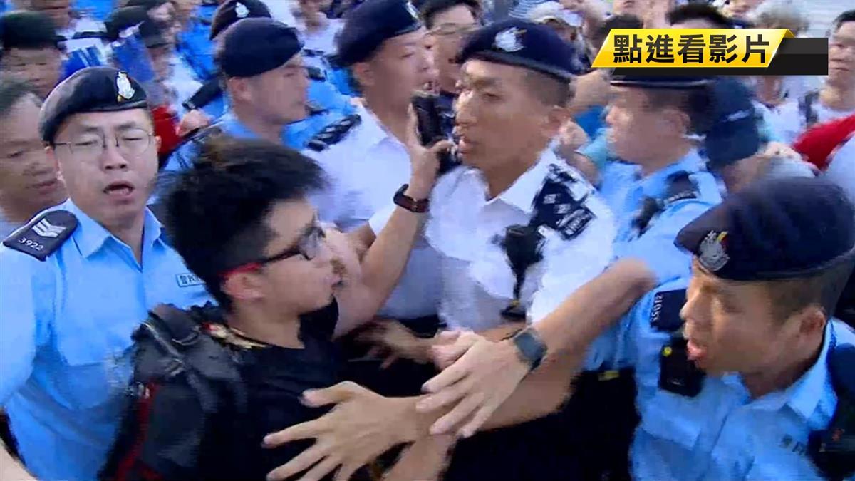 反送中延燒 撐警集會爆衝突!民運領袖黃之鋒險遭毆