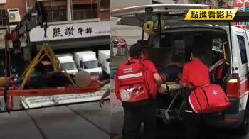冷氣工未綁安全繩3樓掉2樓 119吊掛救人