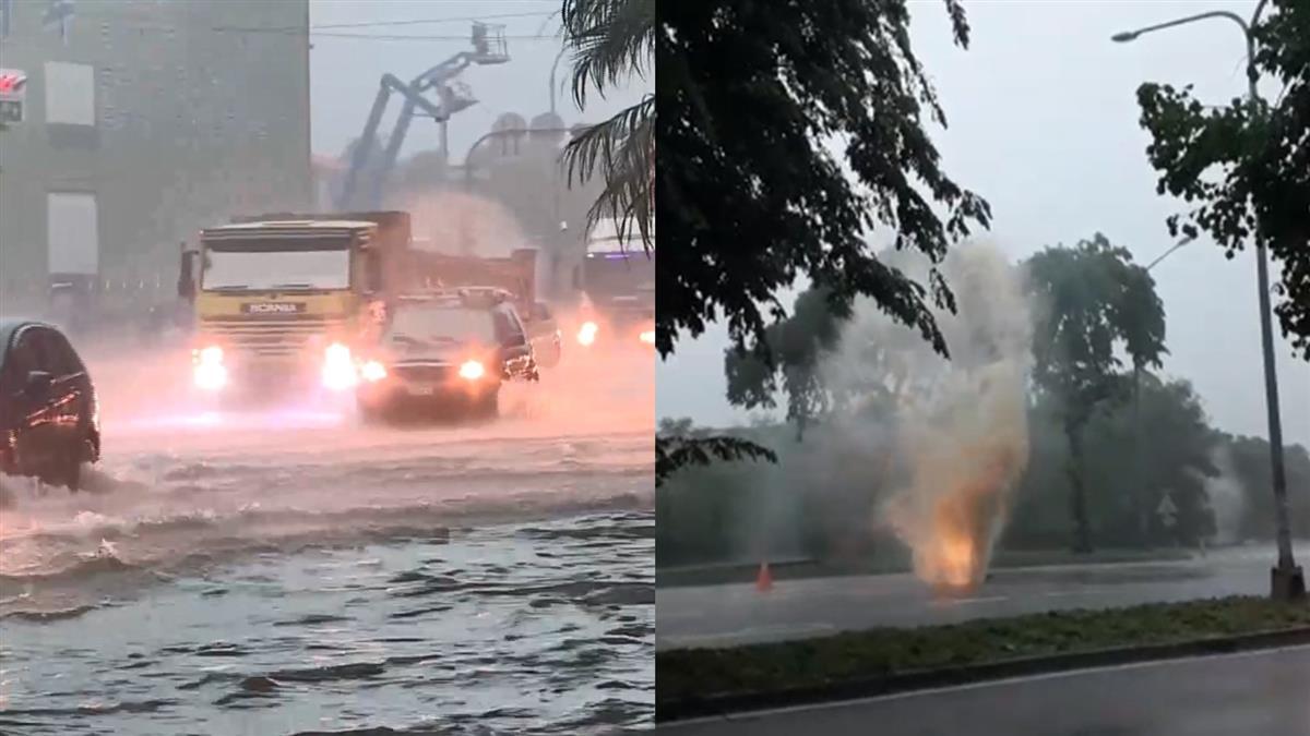 【不斷更新】雨勢猛!高雄路邊人孔蓋噴水 連公車都進水