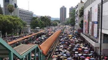香港元朗反送中遊行出發 萬人塞爆交通
