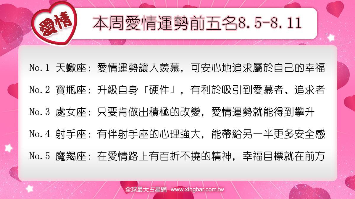 12星座本周愛情吉日吉時(8.5-8.11)