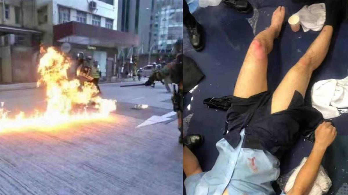 陸媒:港示威者向警投汽油彈 警多處燒傷
