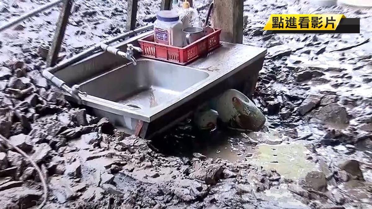 雨大高5區停班課 土石沖民宅屋主外出躲一劫