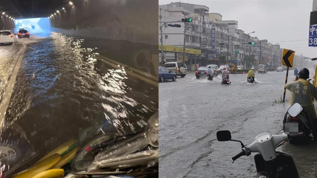 高雄炸雨積水!道路成河流 騎士崩潰涉水