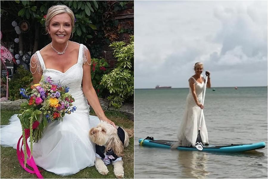 萬元婚紗穿回本 人妻打掃划船不脫下