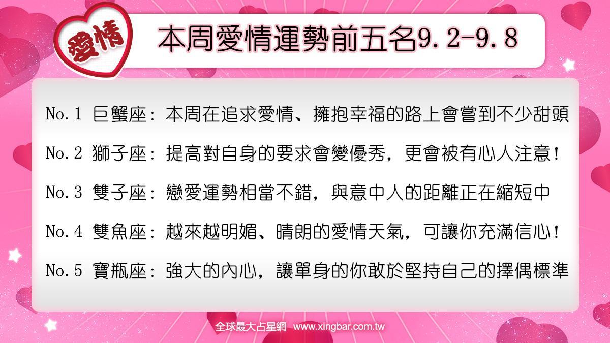 12星座本周愛情吉日吉時(9.2-9.8)
