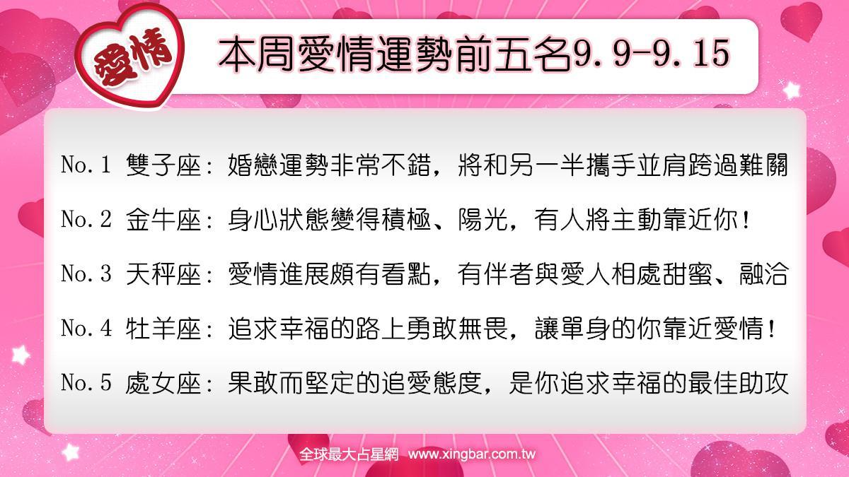 12星座本周愛情吉日吉時(9.9-9.15)