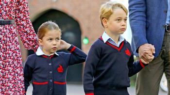 開學了!喬治王子不開勳 夏綠蒂羞藏媽媽裙後