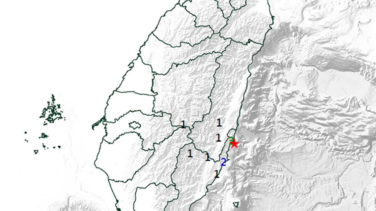 台東外海規模3.6地震!最大震度3級…深度42.9KM