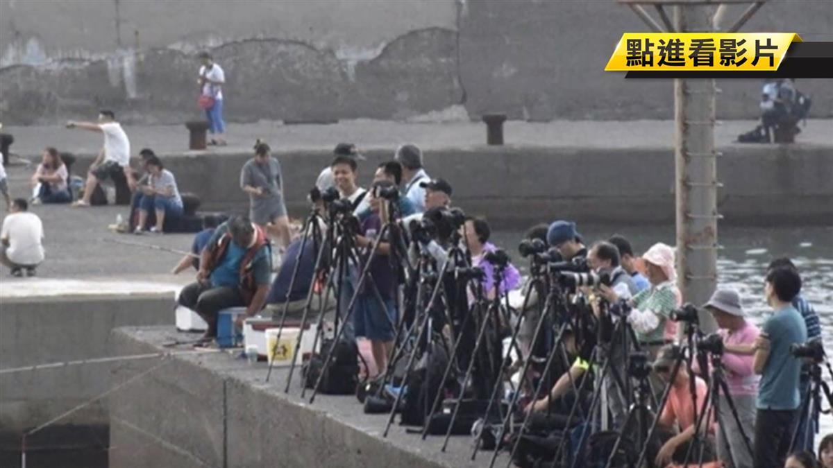 搶拍十三層遺址!數十位遊客站堤防卡位 險象環生