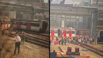 港鐵列車失控出軌 撞對向車折成大V…冒濃煙