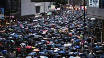禁蒙面法大遊行 港警灣仔拘捕多名示威者