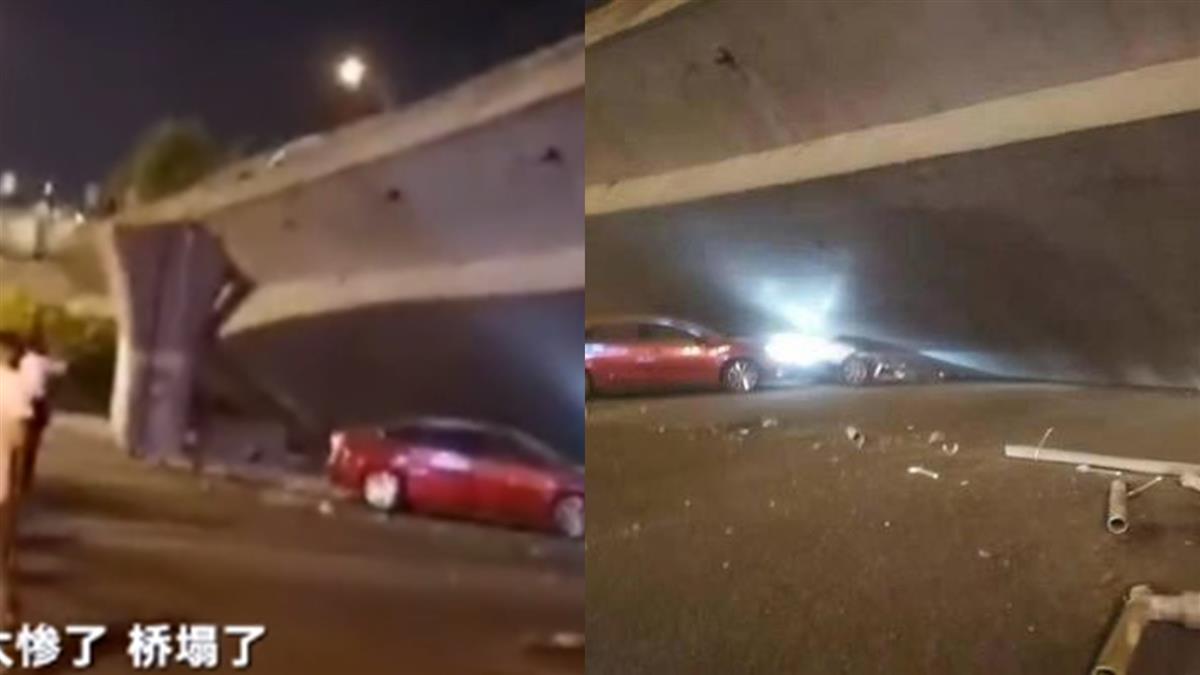 江蘇無錫高架橋坍塌!多車遭壓扁 救援人員搶救中