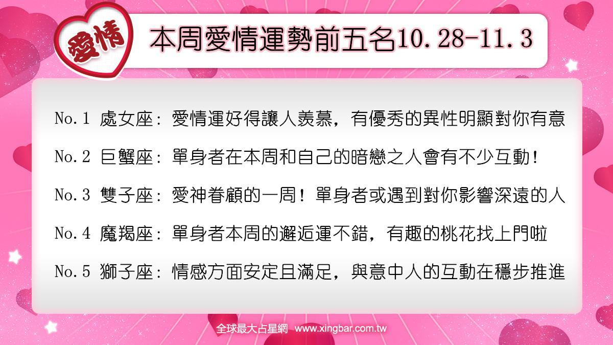 12星座本周愛情吉日吉時(10.28-11.3)