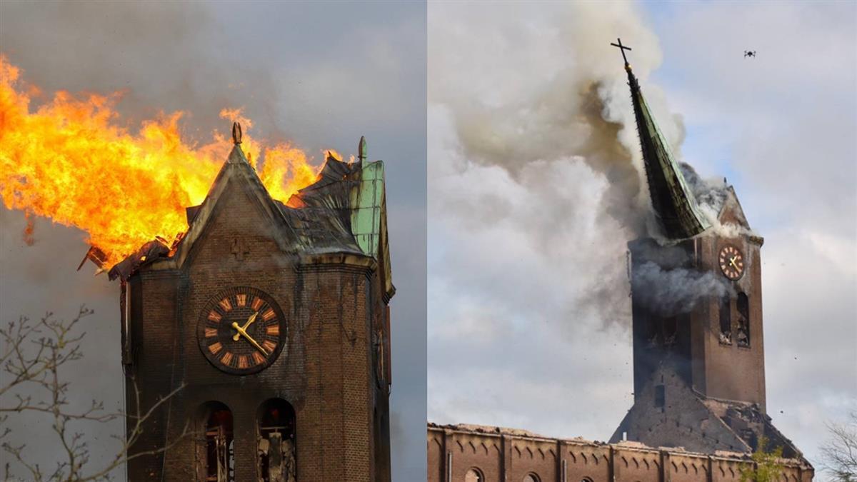 荷蘭百年教堂遭火噬 尖塔斷裂瞬間曝…居民心痛