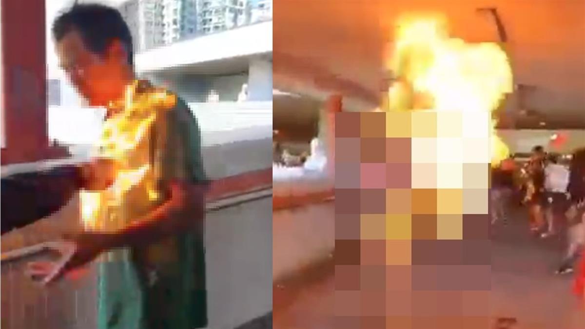 嚇人!男制止破壞港鐵 遭示威者淋液體燒成火球