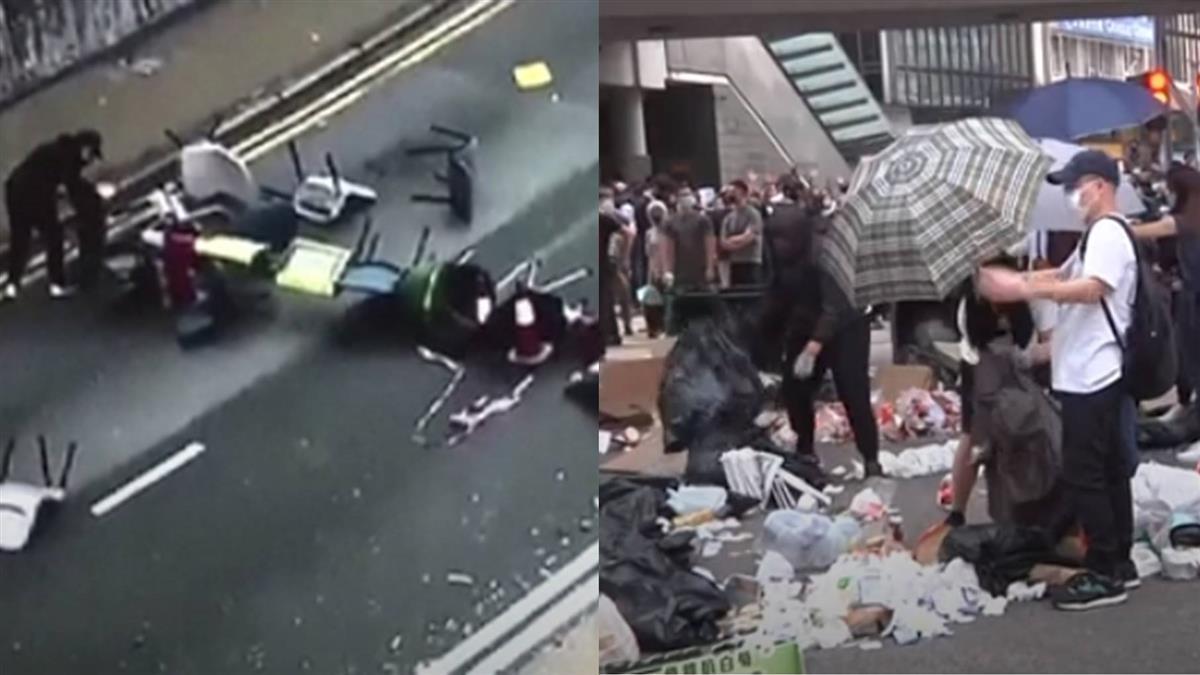 示威攻防戰!港民堆磚設路障 港警裝甲車驅散