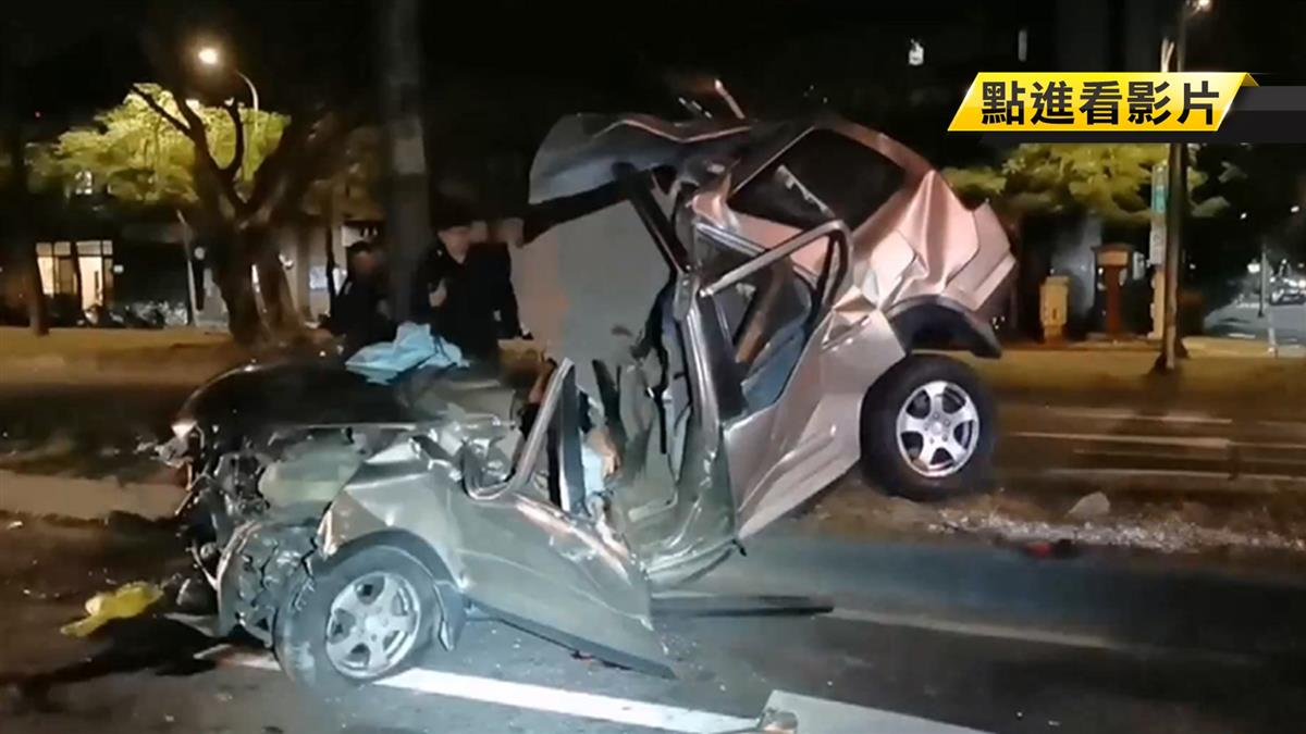 北市轎車擦撞分隔島「黏樹上」 受困駕駛送醫不治