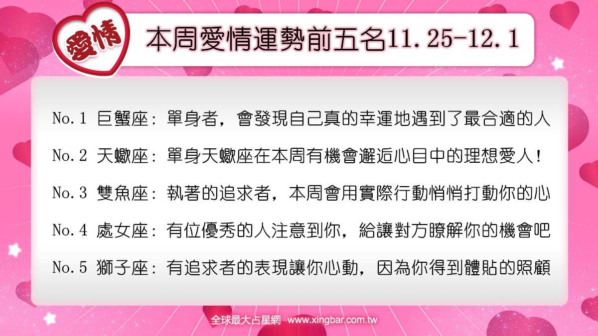 12星座本周愛情吉日吉時(11.25-12.1)