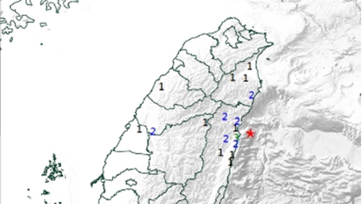 9:32花蓮近海規模4.4地震 深度僅6.5公里