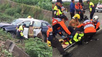 快訊/台中警車翻覆邊坡 2警1嫌受傷送醫