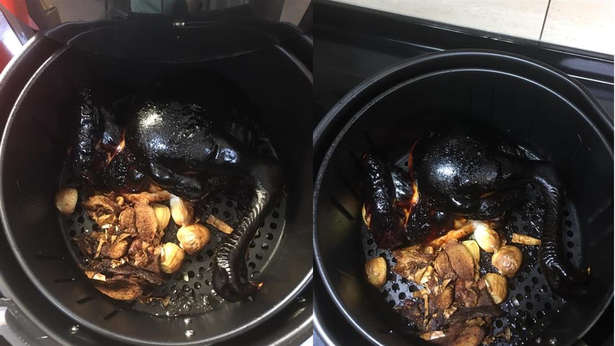 氣炸鍋做烤雞只剩薑蒜 人妻揭真相笑翻萬人