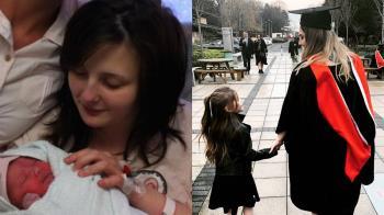 女14歲懷孕休學 7年後牽女兒參加畢典