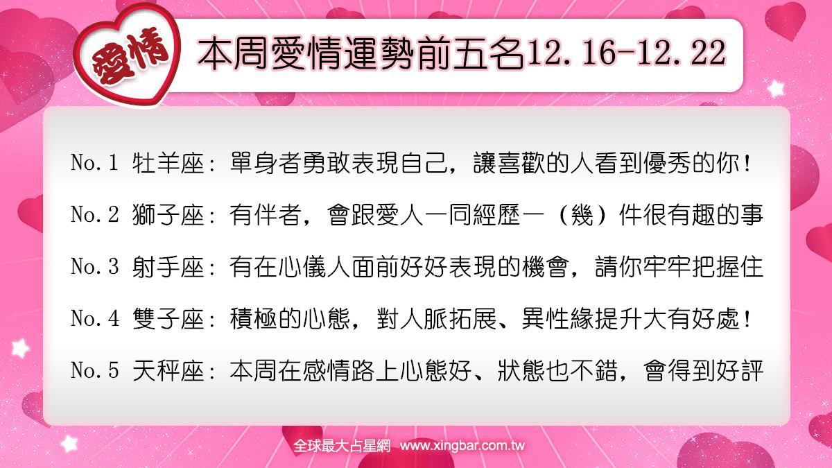 12星座本周愛情吉日吉時(12.16-12.22)