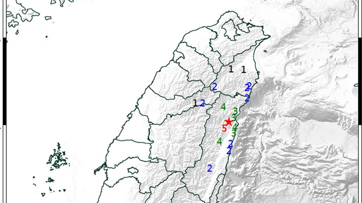 07:41花蓮規模4.0地震!最大震度5級 深度17.9公里