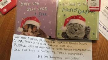 6歲小女孩買耶誕卡 驚見陸囚犯求救訊息
