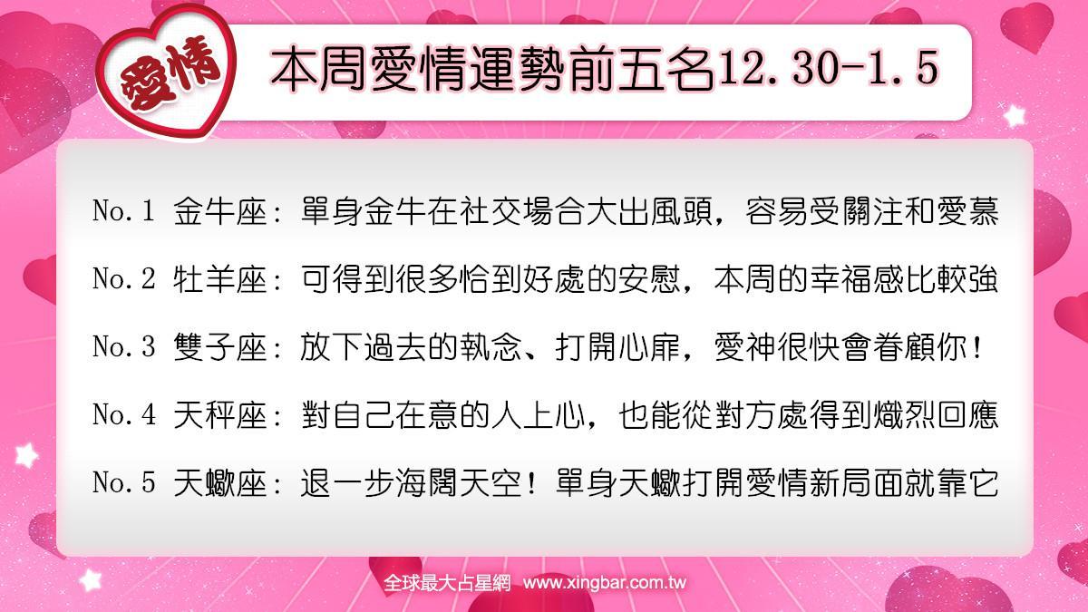 12星座本周愛情吉日吉時(12.30-1.5)
