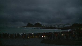 無緣見平地第一道曙光 三仙台雲層厚遮光芒