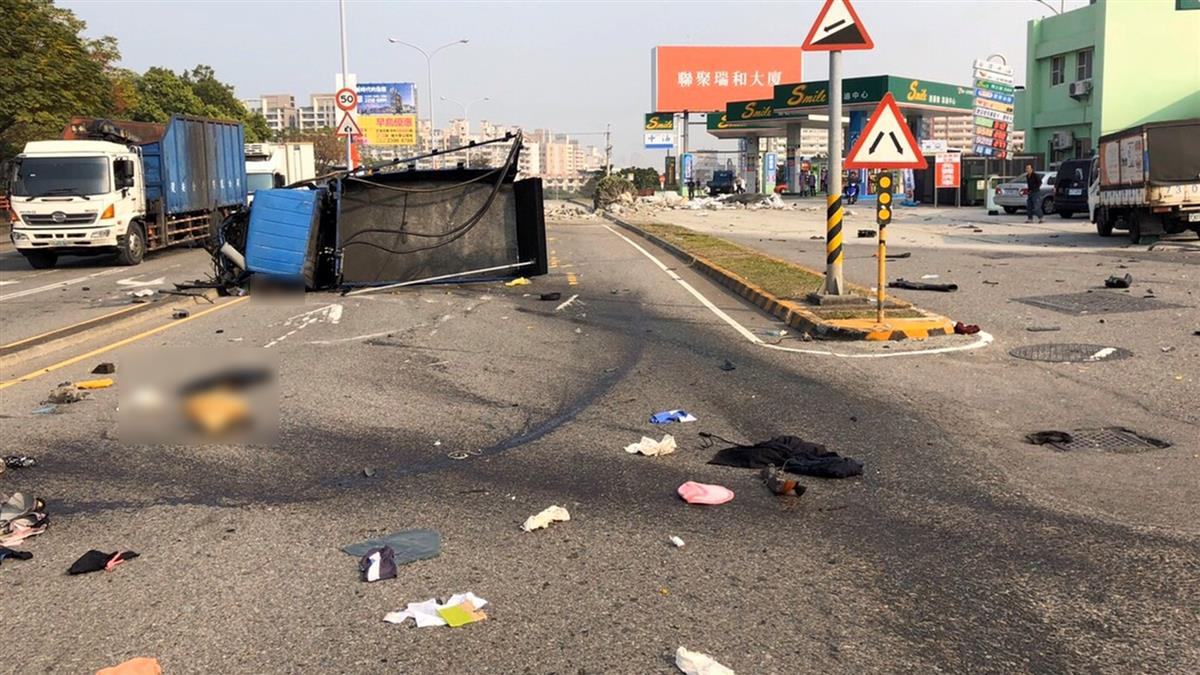 台中拖板車、貨車相撞 1男1女當場死亡