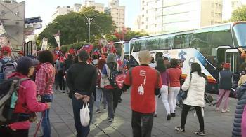 韓國瑜凱道大造勢  遊覽車停滿人潮湧現