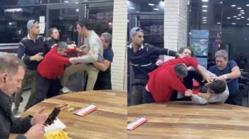 餐廳鬥毆衝突  男子一旁冷靜吃薯條爆紅