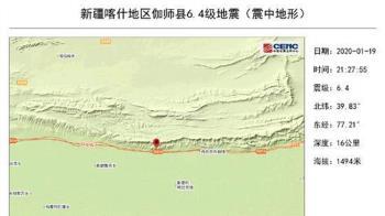 新疆伽師發生規模6.4強震 傷亡不明