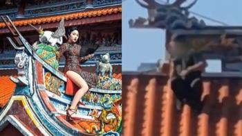 攀爬廟宇拍照惹議 北市龍山寺澄清:不是這裡