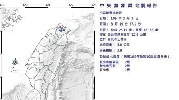 雙北有感!台北士林規模2.9地震 深度5公里