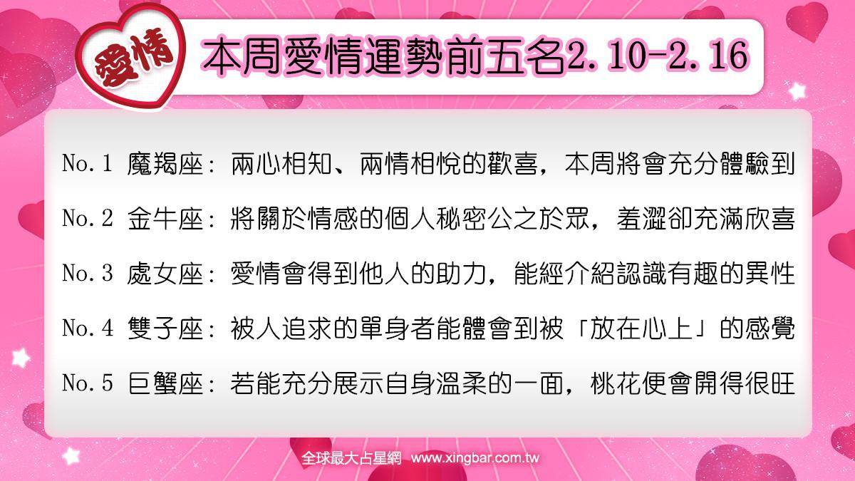 12星座本周愛情吉日吉時(2.10-2.16)