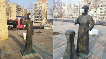 陸雕像被戴口罩 網轟浪費:人都買不到了
