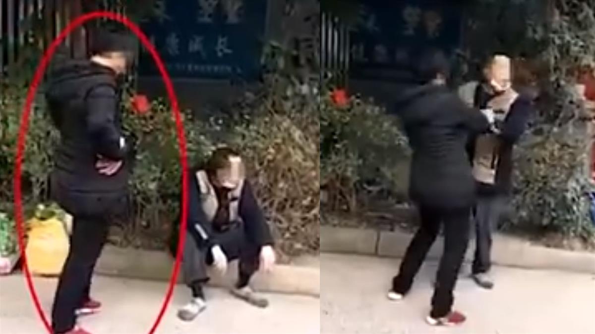 不出示證件!男對防疫人員吐口水 遭妻當街爆打