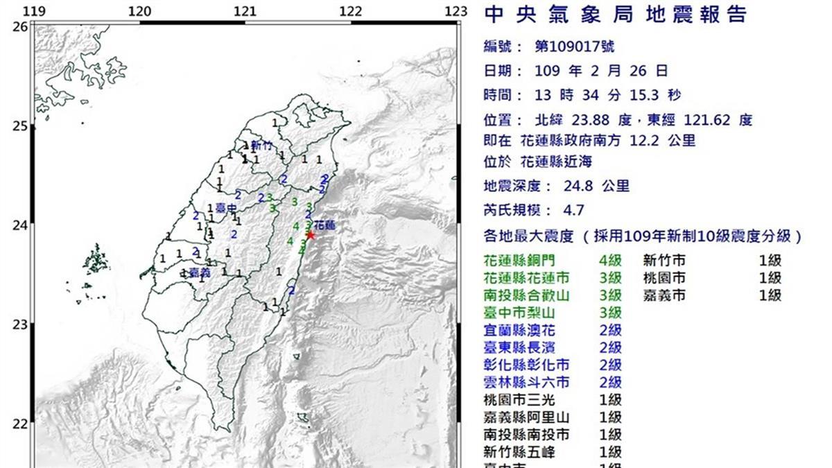 花蓮地震規模4.7 最大震度4級