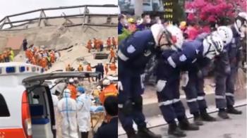 泉州欣佳酒店已釀4死 救援人員集體鞠躬遺體