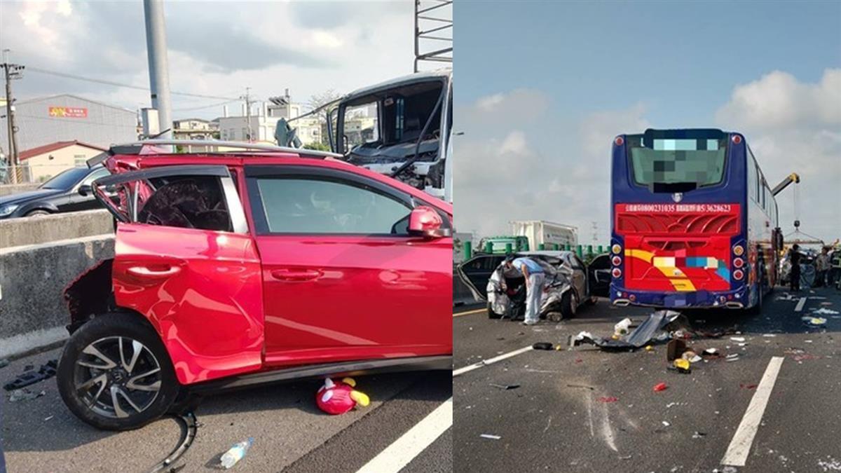 國道1號傳重大車禍!8車連環追撞 4人急送醫全線封閉