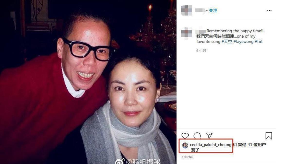張栢芝按讚王菲照片 網友突破盲點是因為他
