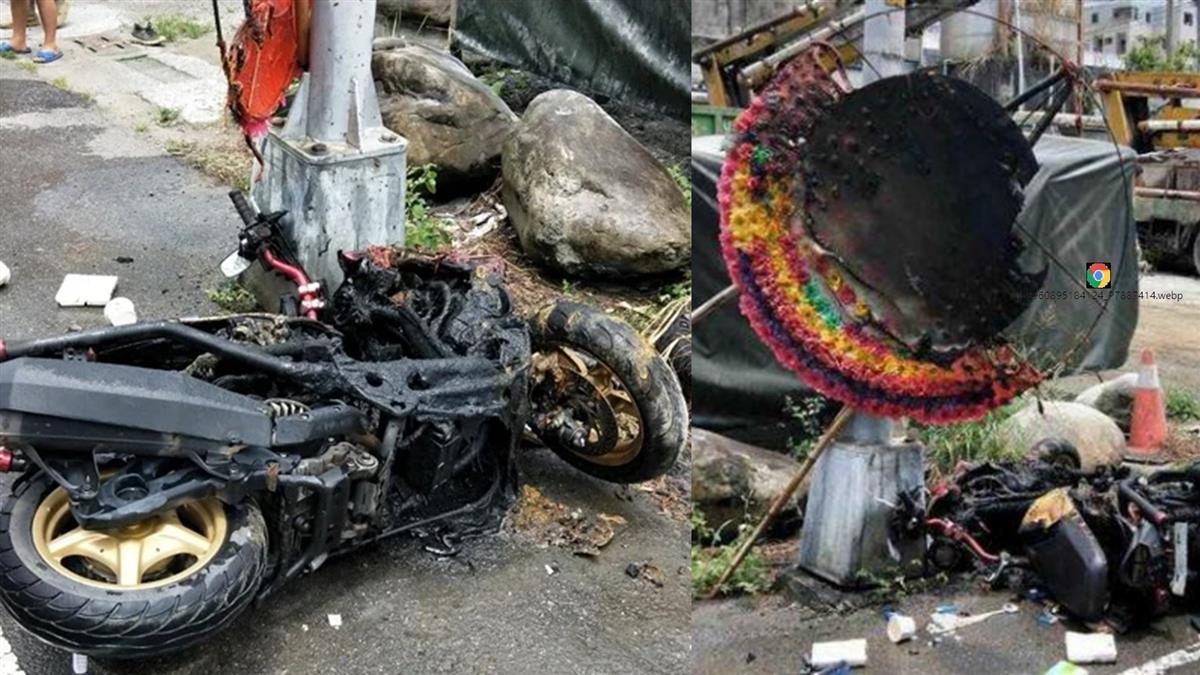 超恐怖!台中男騎機車撞喪家花圈 當場起火活活燒死