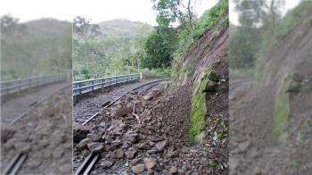 阿里山林鐵上邊坡土石滑落 嘉義到十字路停駛