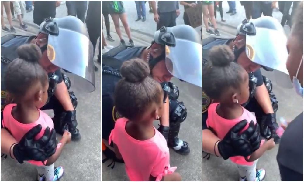 幼女淚問:會對我開槍嗎?美警給大擁抱:我是來保護妳的