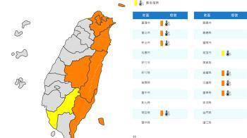 高溫警報!全台7縣市可達38度 台北至台東一片橘
